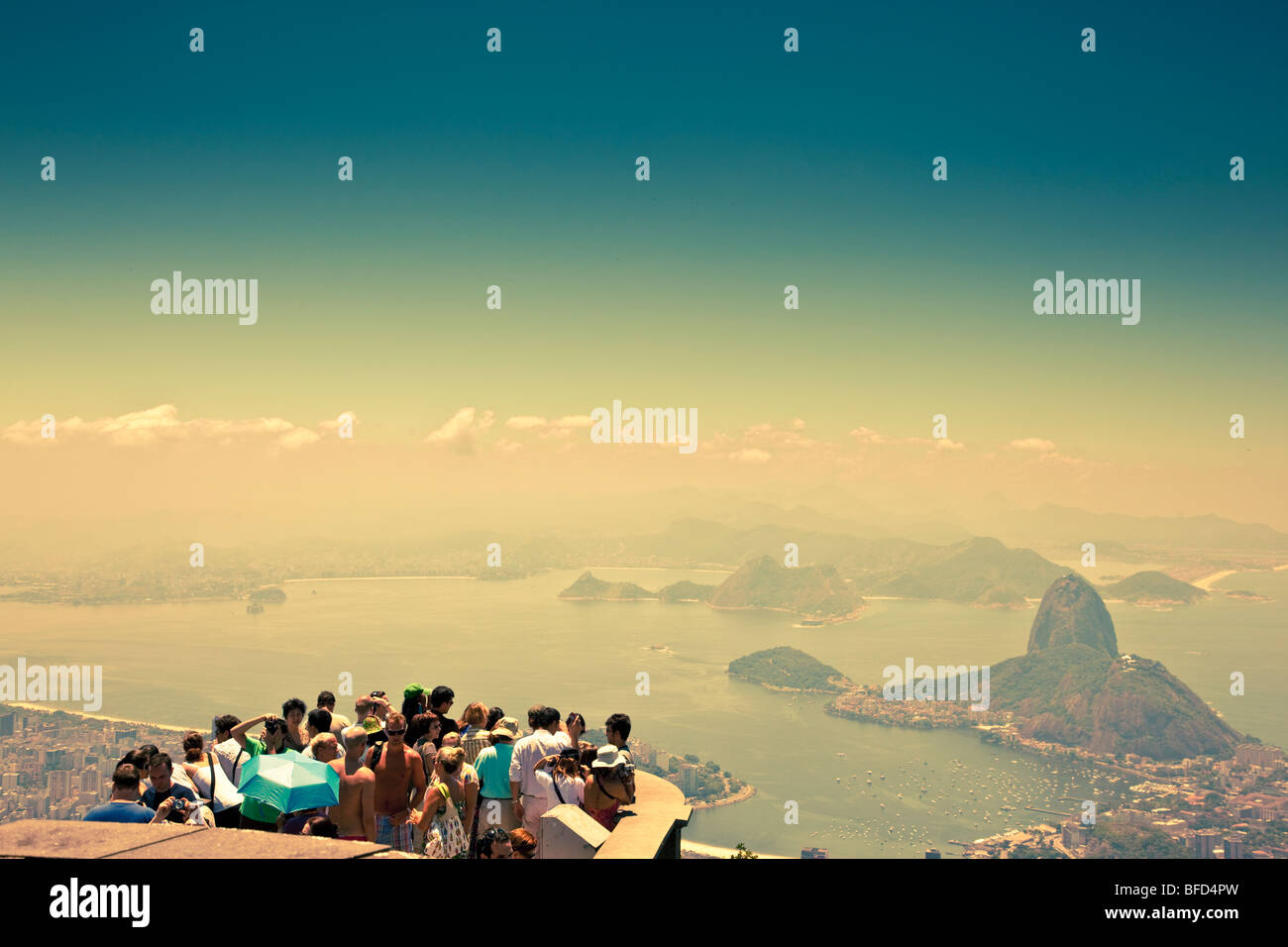 people at look out point at Corcovado Mountain Rio de Janeiro - Stock Image