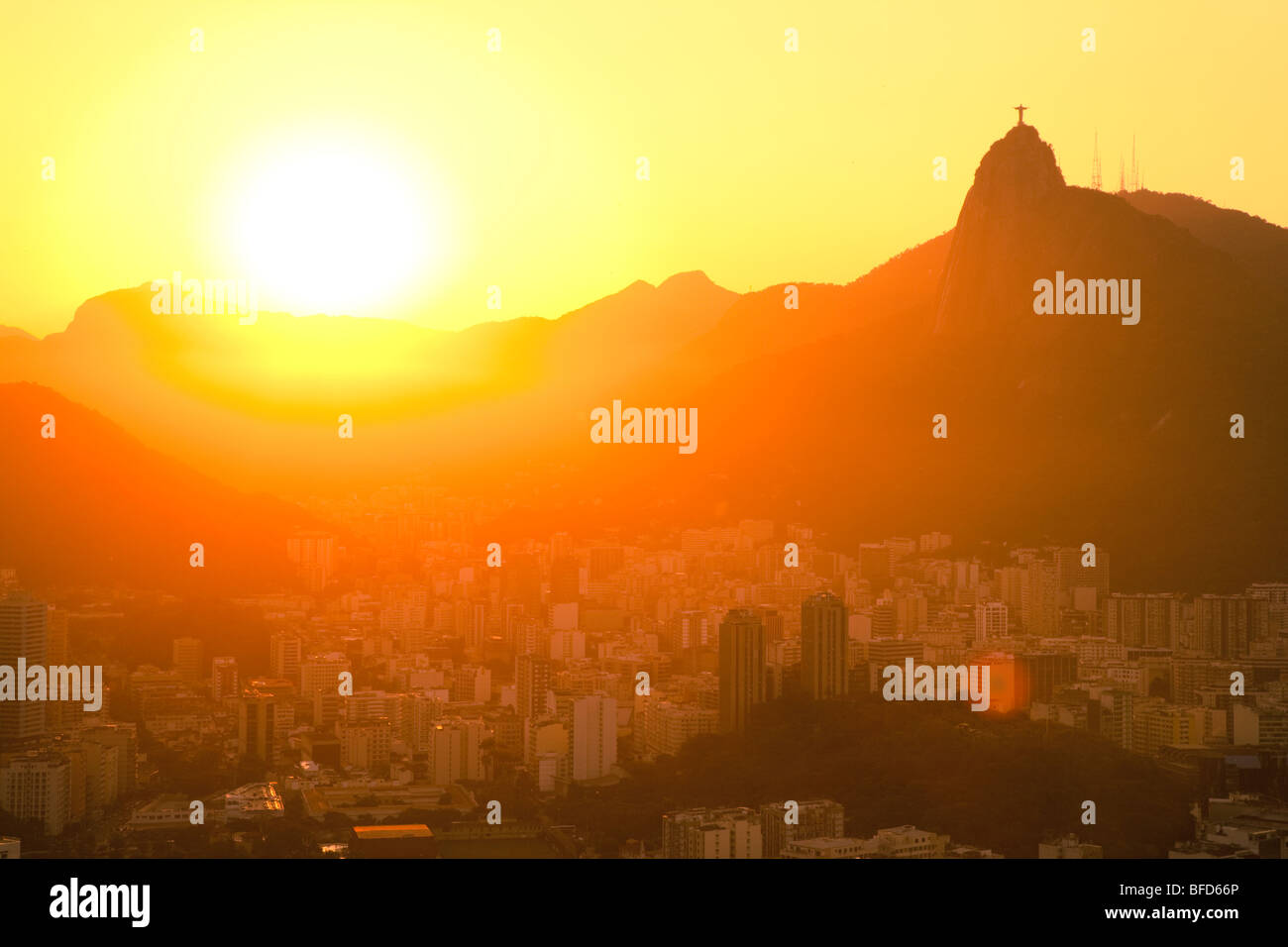 sunset views of Jesus and Corcovado from Sugar Loaf Mountain Stock Photo