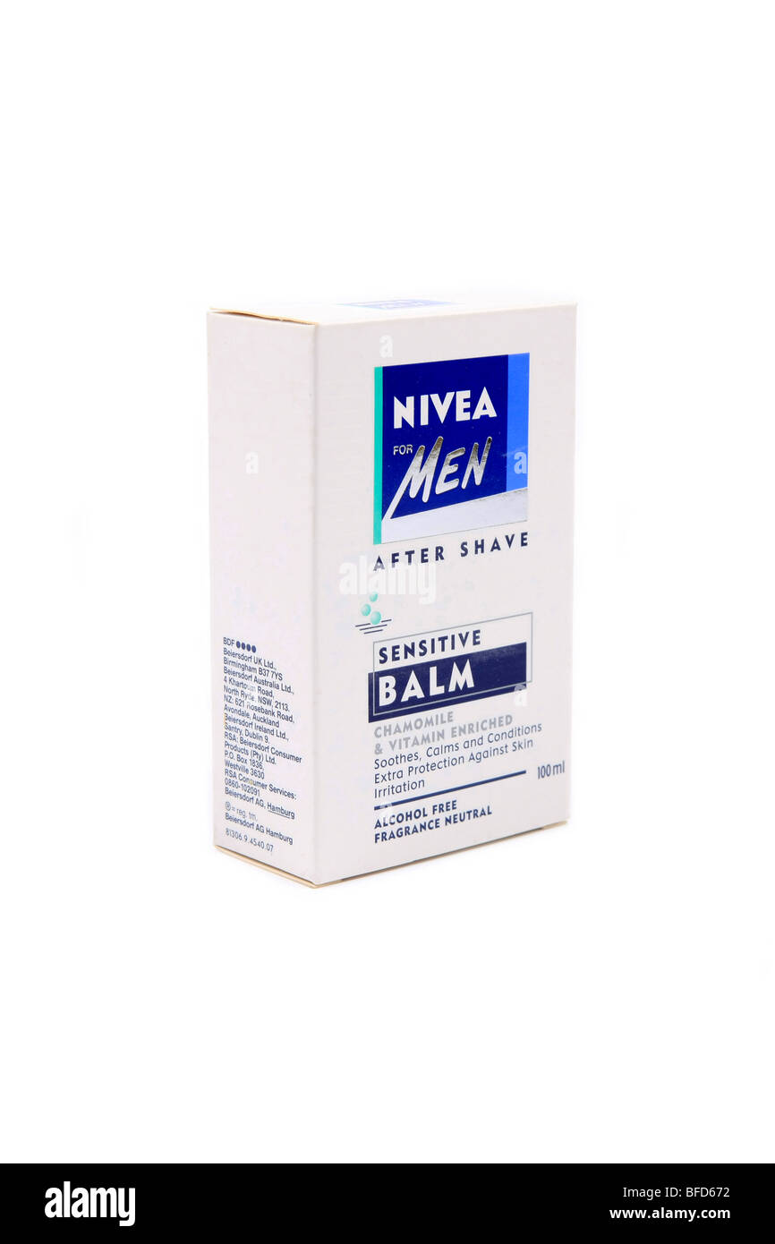 Nivea for Men Aftershave balm for sensitive skin packaging against a white background - Stock Image