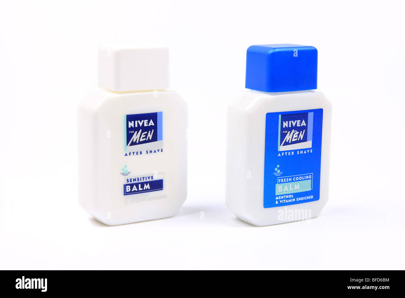 Bottles of Nivea for Men Aftershave balm against a white background - Stock Image