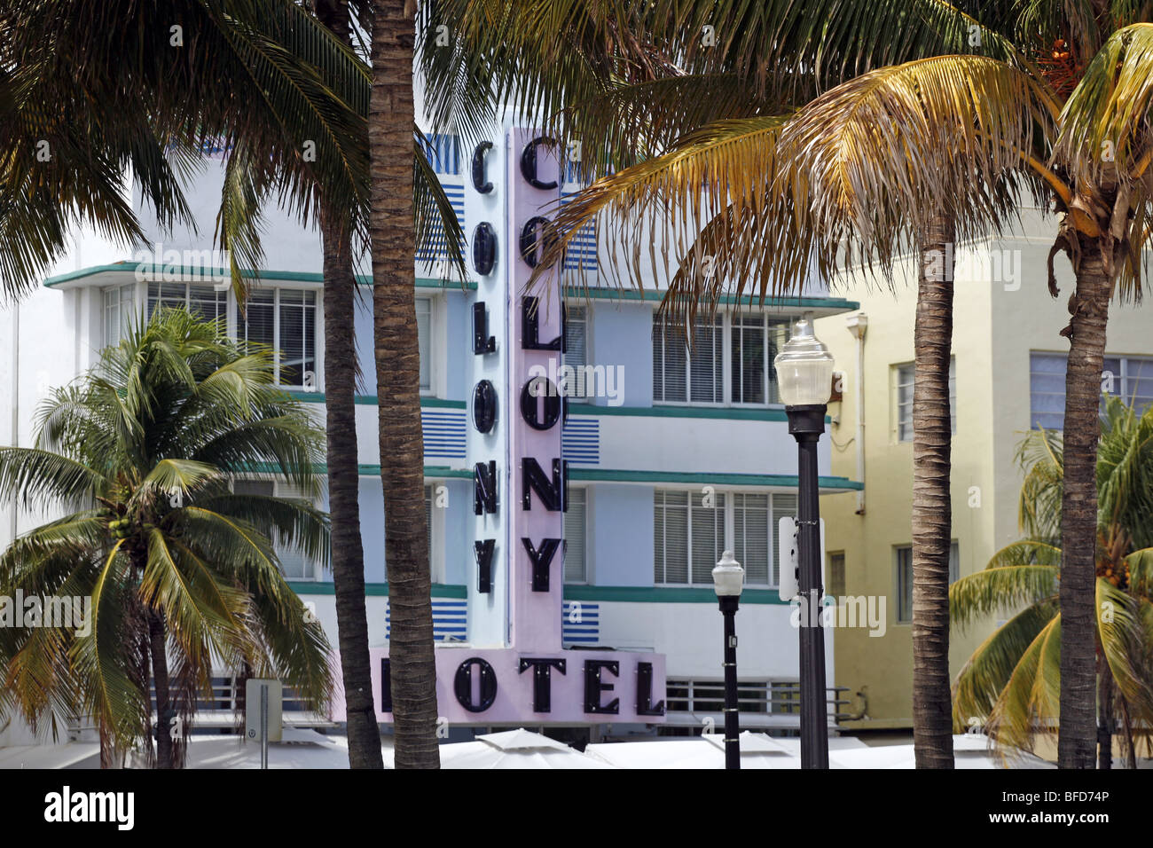 The Colony Hotel on Ocean Drive, Miami Beach - Stock Image