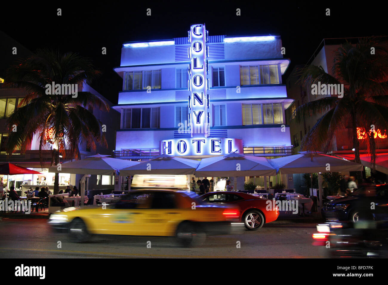 The Colony Hotel on Ocean Drive, Miami Beach, USA - Stock Image