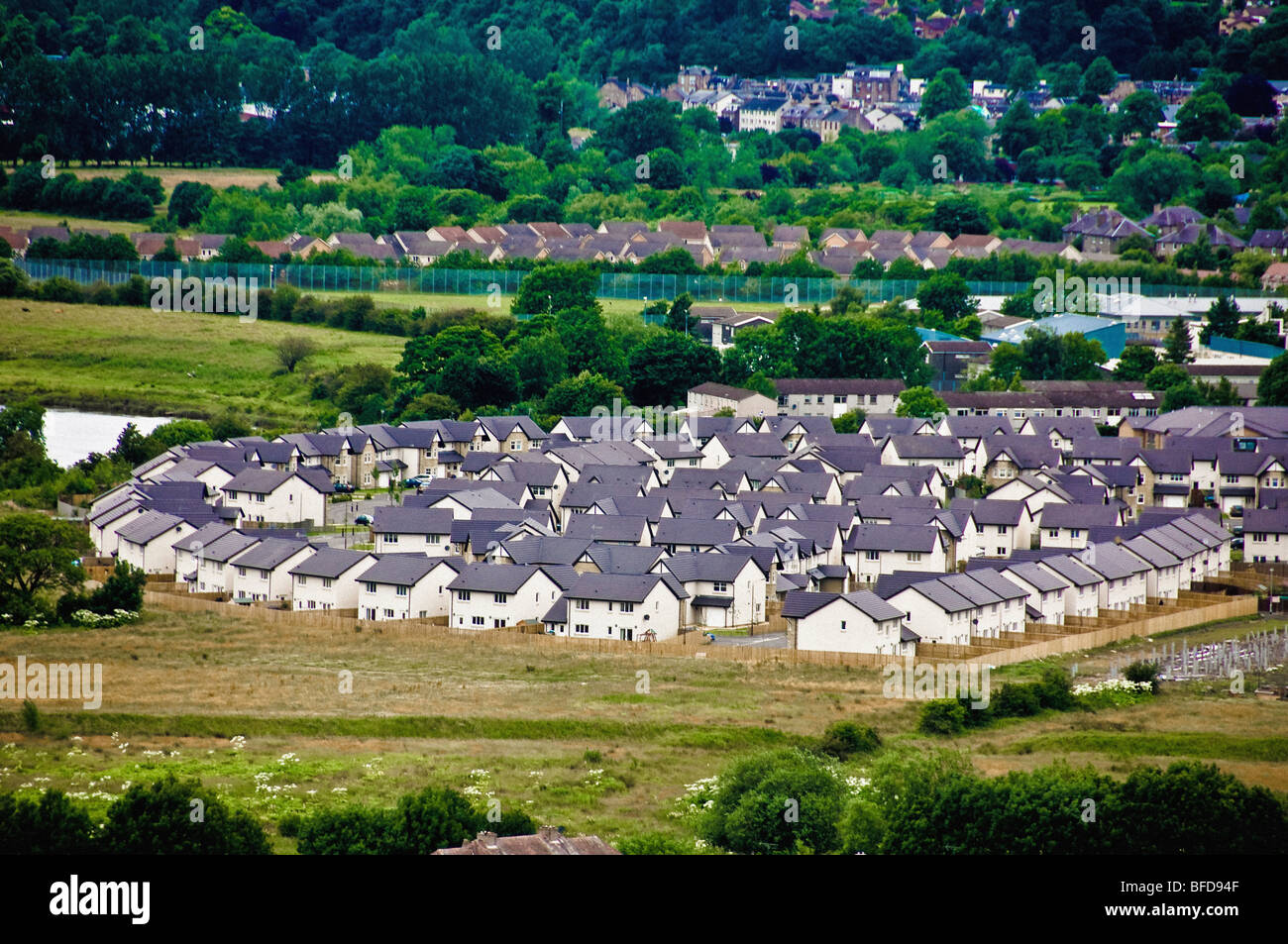 Aerial shot of housing estate near Stirling Castle. - Stock Image