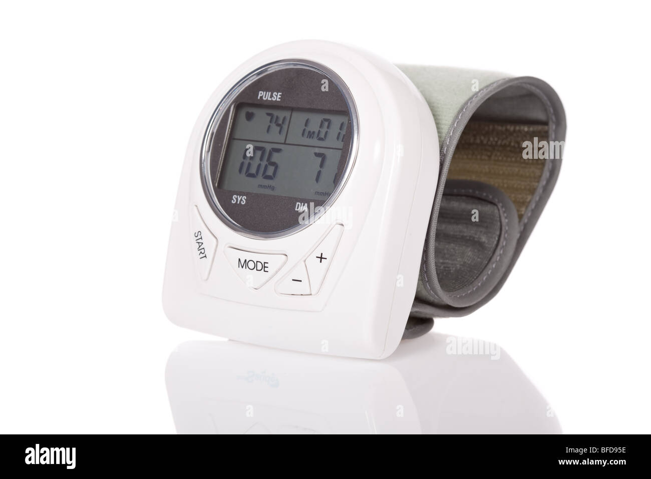 Wrist sphygmomanometer (blood pressure measure equipment) isolated on white background - Stock Image