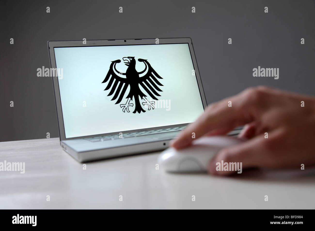 Federal eagle on computer screen. Symbol: prevention of online crime by the state - Stock Image