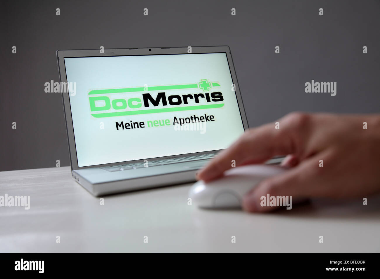 DocMorris company logo on computer screen. Symbol: Buying of medicine at the online pharmacy DocMorris - Stock Image
