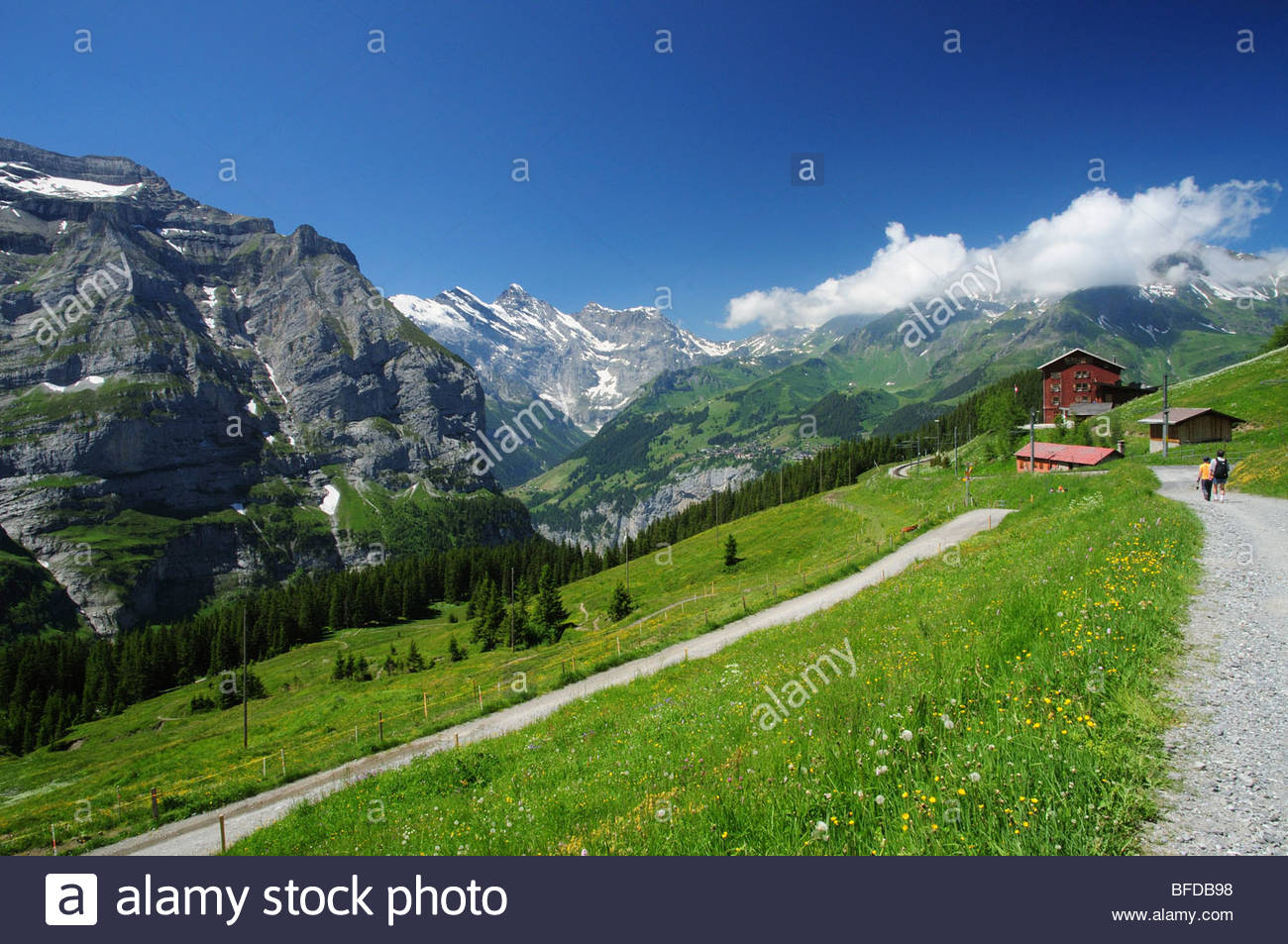 There is a small railway line up to Wengenalpbahn station at 1873m, from which the viewer can look over the Lauterbrunnen - Stock Image
