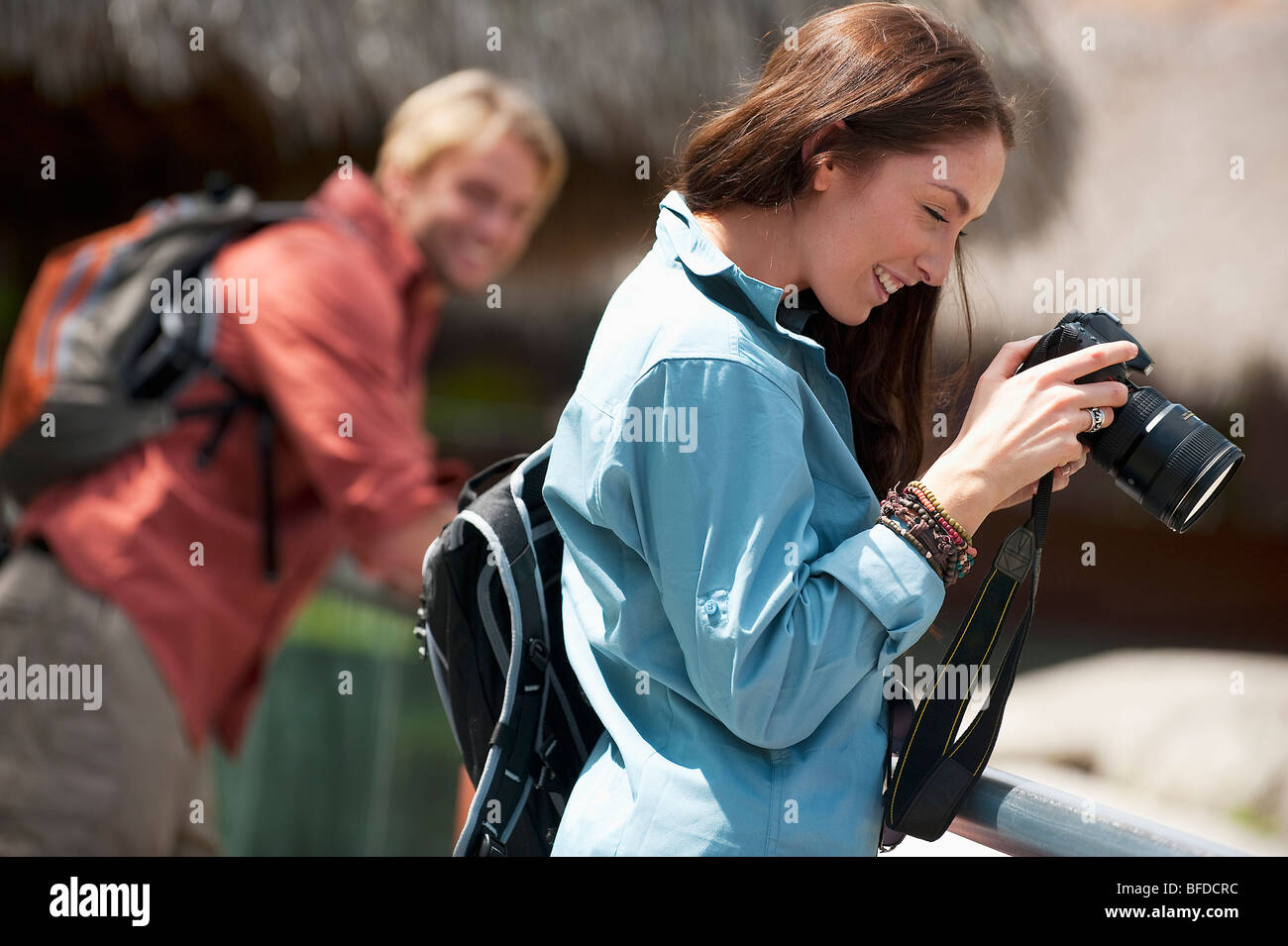 A couple take photos in Everglades National Park, Florida. - Stock Image