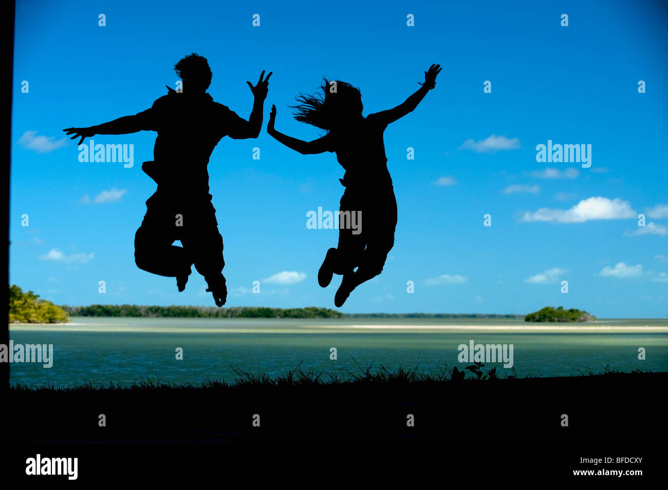 A couple leap into the air in Everglades National Park, Florida. (silhouette) - Stock Image