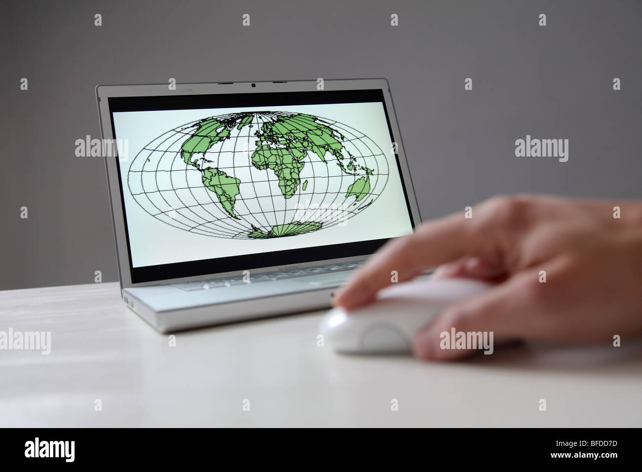 World map on computer screen Stock Photo