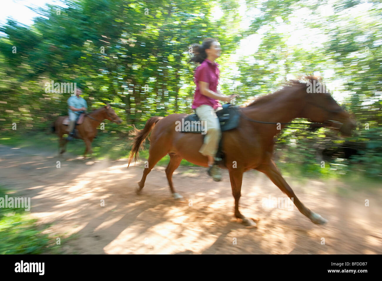 A man and woman horseback ride in Florida. (motion blur) - Stock Image