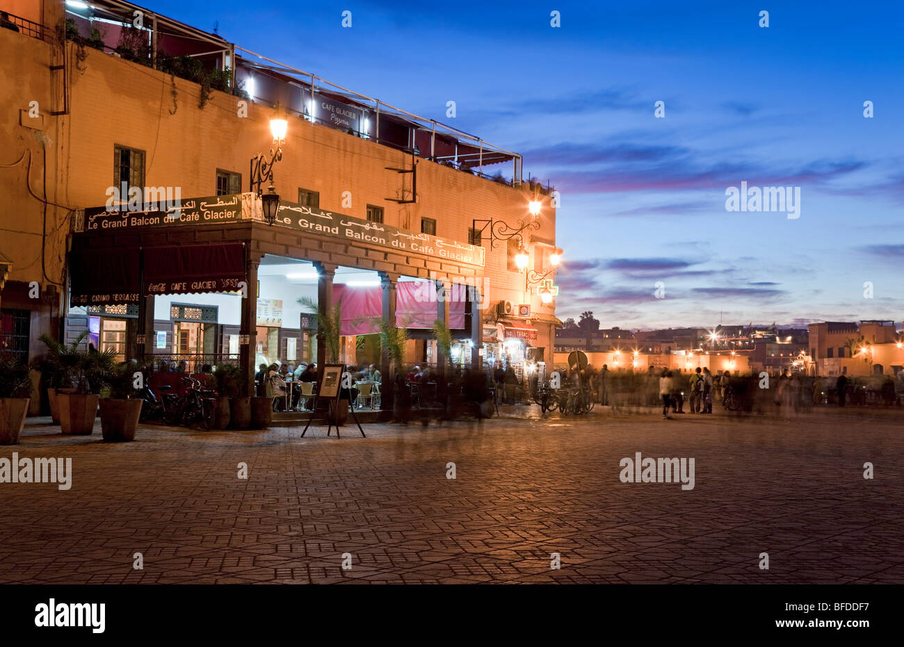 Morocco Marrakesh Place Jemaa El Fna At Dusk With Cafe Glacier