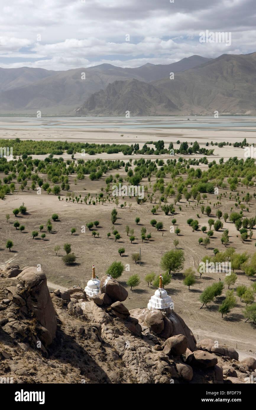 Chortens near Samye Monastery - Stock Image