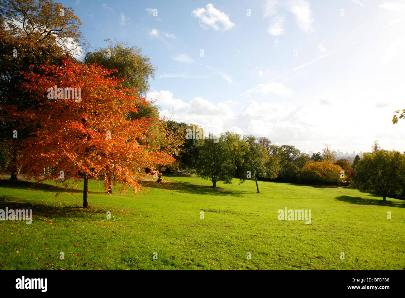 Long distance view of central London from Waterlow Park, Highgate, London, UK - Stock Image
