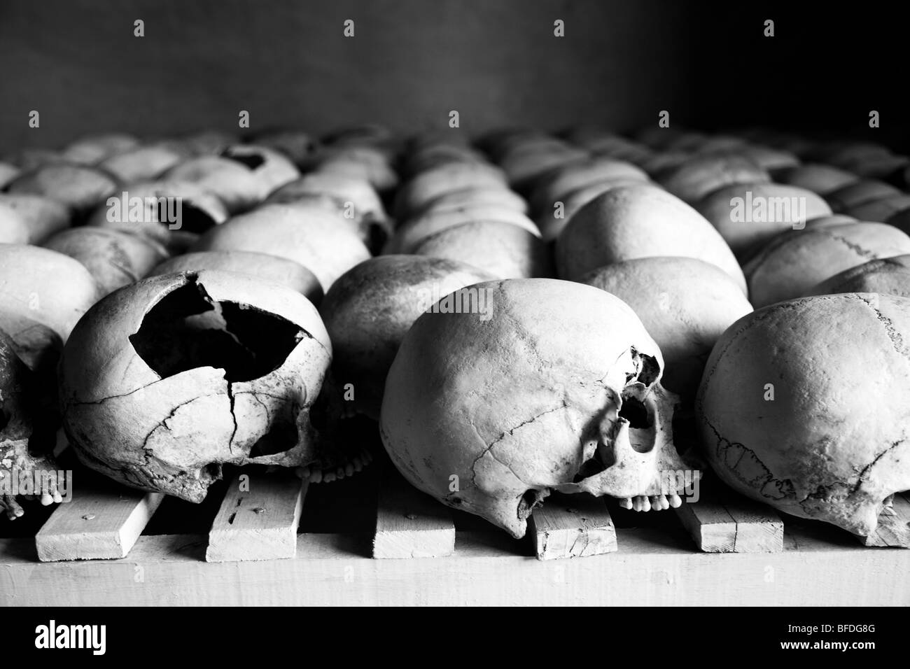 Skulls are lined up at the Murambi Genocide Memorial outside of Gikongoro in southern Rwanda. - Stock Image