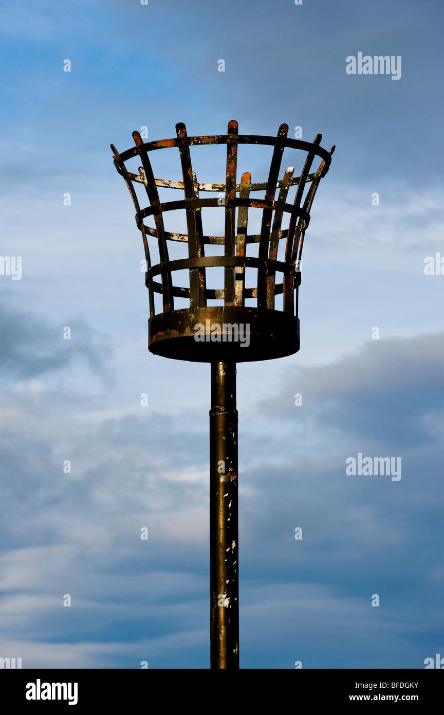 Unlit beacon at Carter Bar on the English and Scottish borders Stock Photo