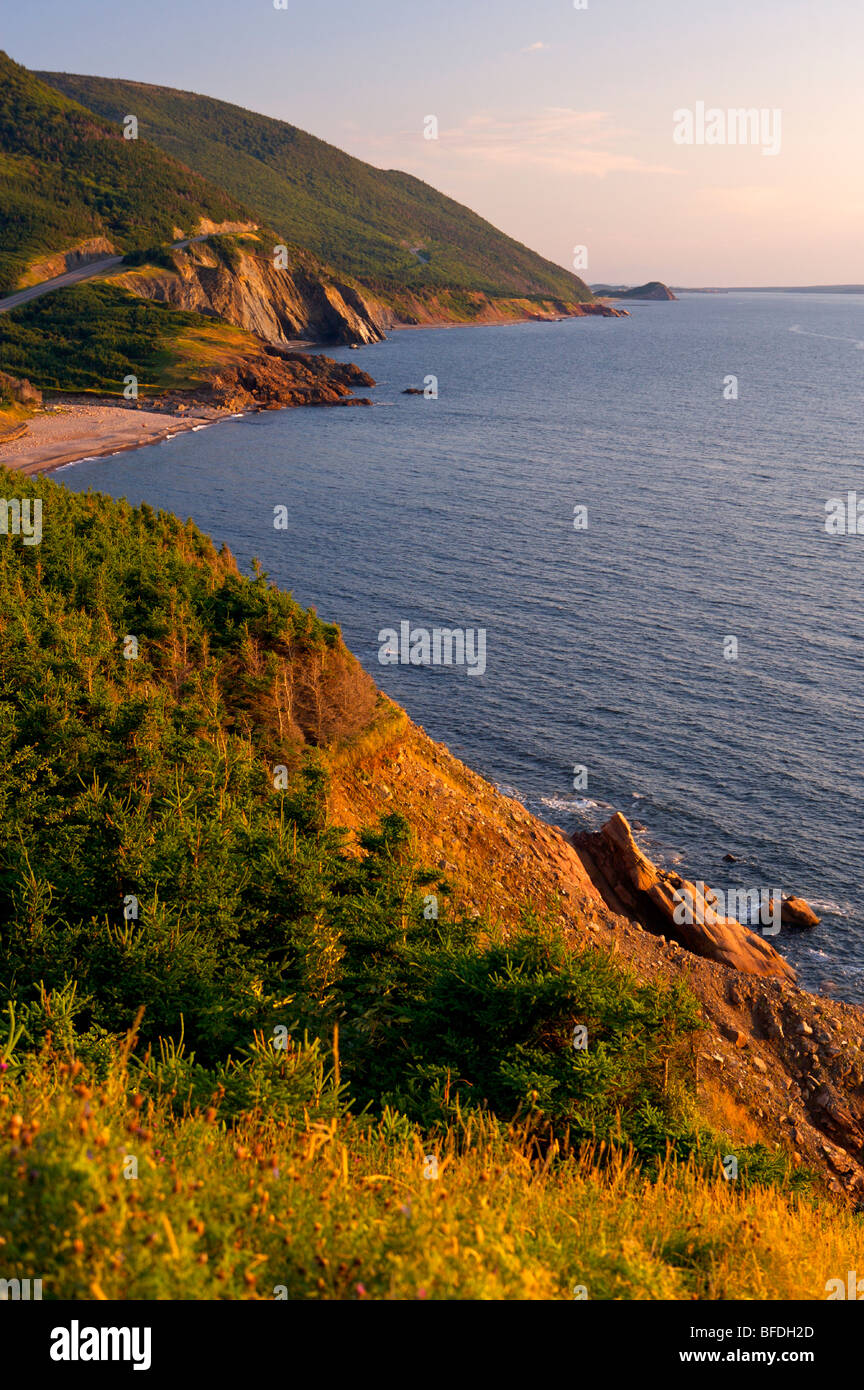 View of the Cabot Trail  towards Cheticamp Island, Cape Breton Highlands National Park,  Cape Breton, Nova Scotia, - Stock Image