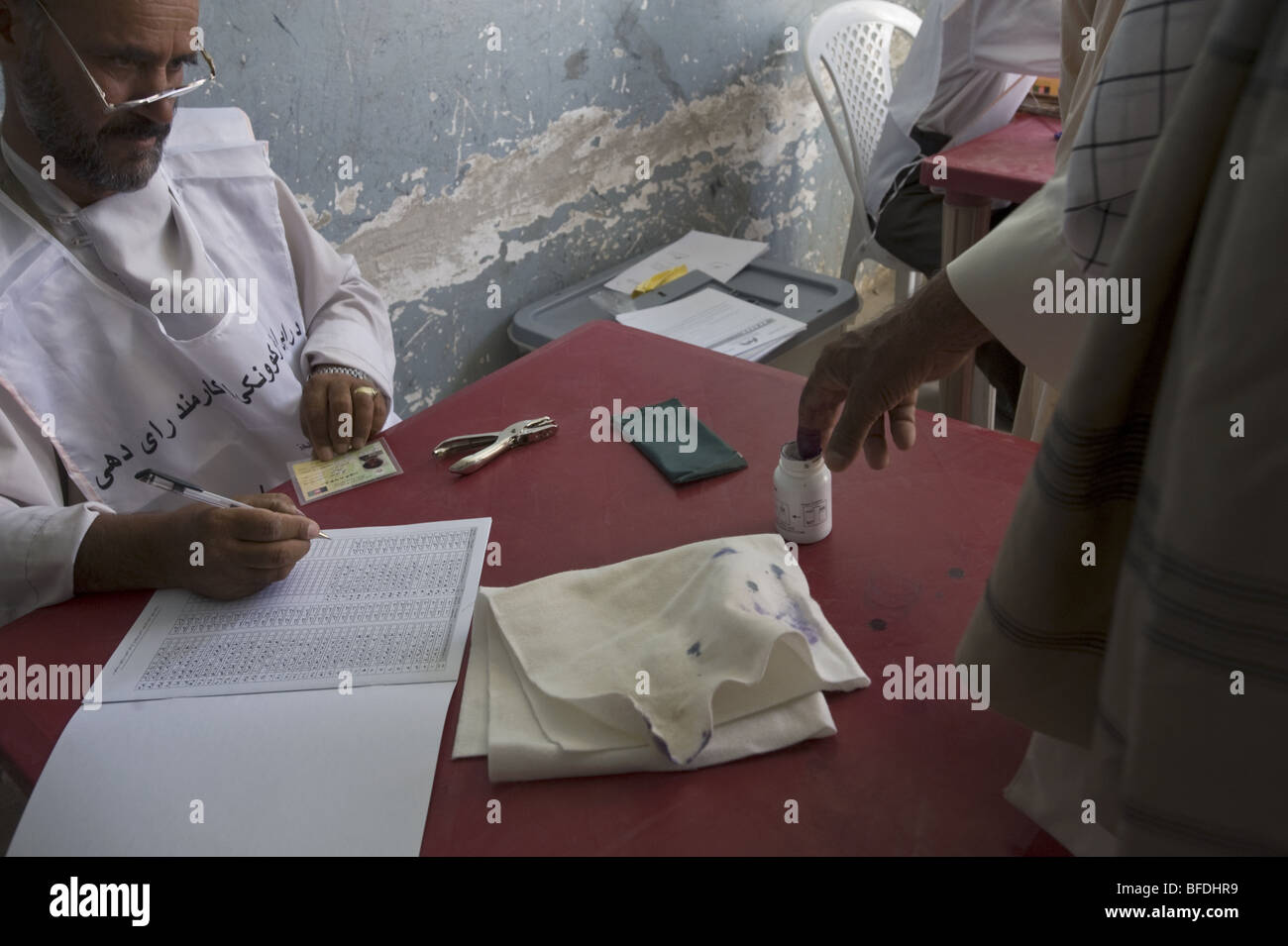Scenes from voting on the day of presidential and provincial elections in Mazar-i Sharif, Afghanistan. - Stock Image