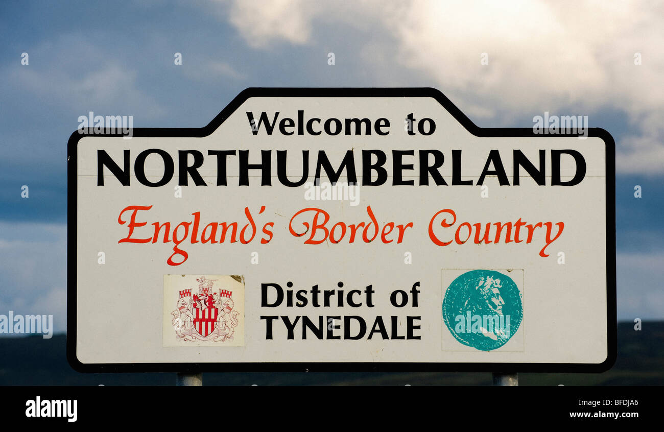 Road Side sign saying 'Welcome to Northumberland England's Border Country' - Stock Image