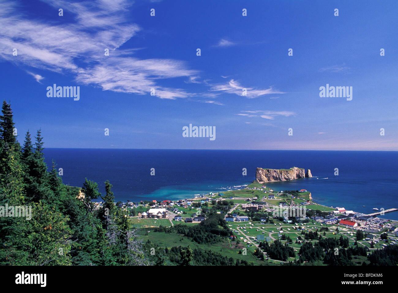 Coastal village with Perce Rock, Perce, Gaspe, Quebec, Canada - Stock Image