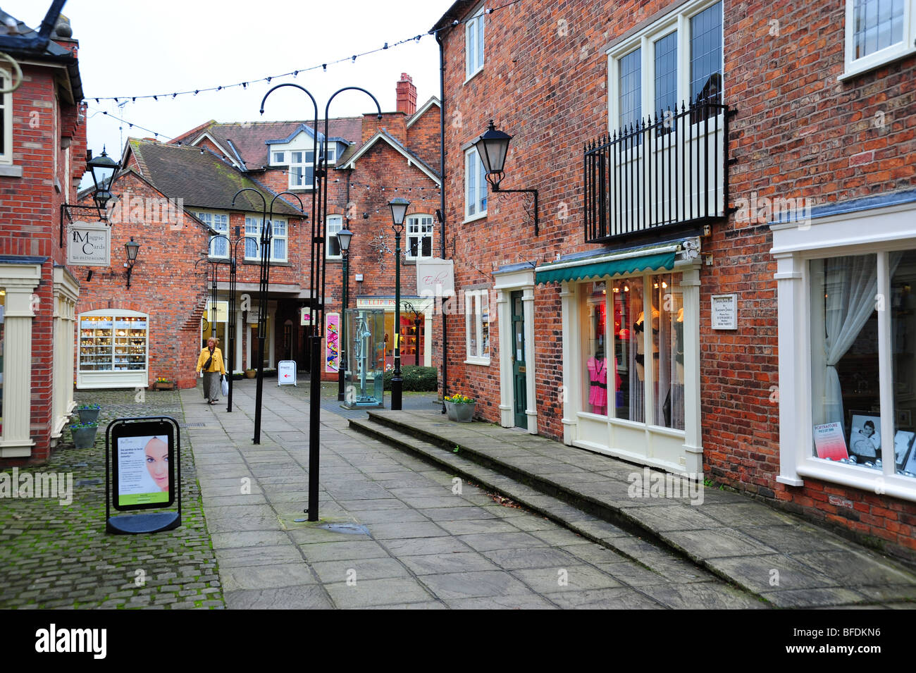 Shopping area in Nantwich Cheshire - Stock Image