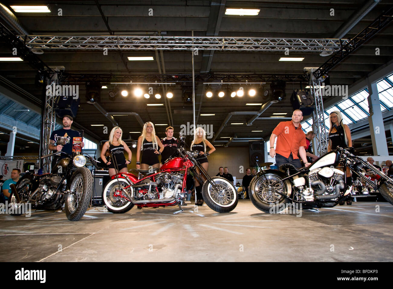 The winners in the Best Café Racer category at Scandinavian Custom Show in Bella Centret Copenhagen - Stock Image