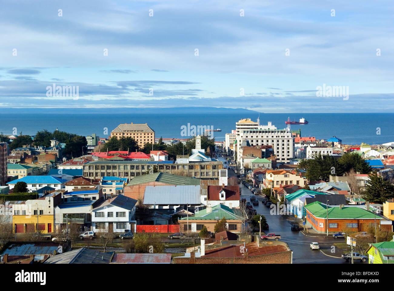 View of Punta Arenas from Mirador Cerro de la Cruz, Chile - Stock Image