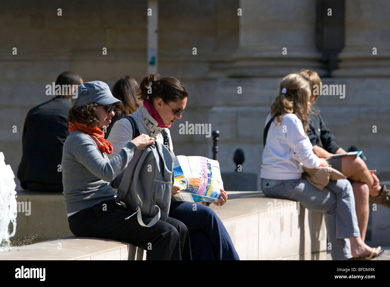 Students study near the Sorbonne in Paris, France. - Stock Image