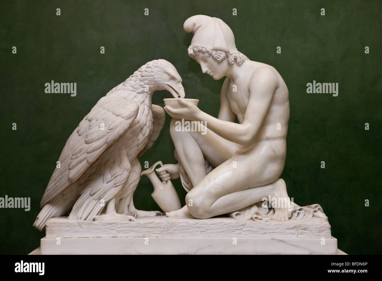 Sculpture of Ganymede with Jupiters Eagle at Thorvaldsens Museum in Copenhagen Denmark - Stock Image