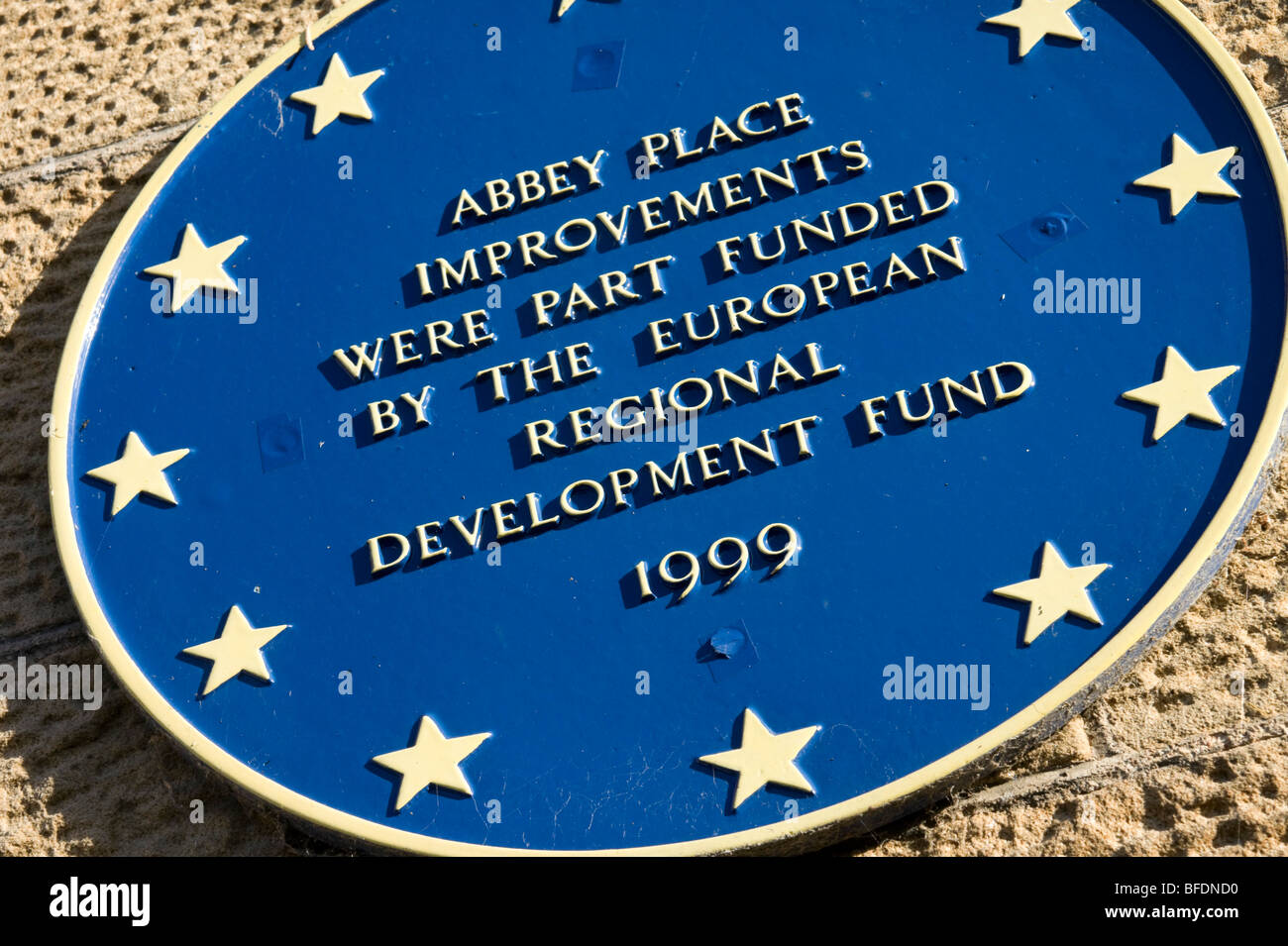 European funding wall plaque in Scotland - Stock Image