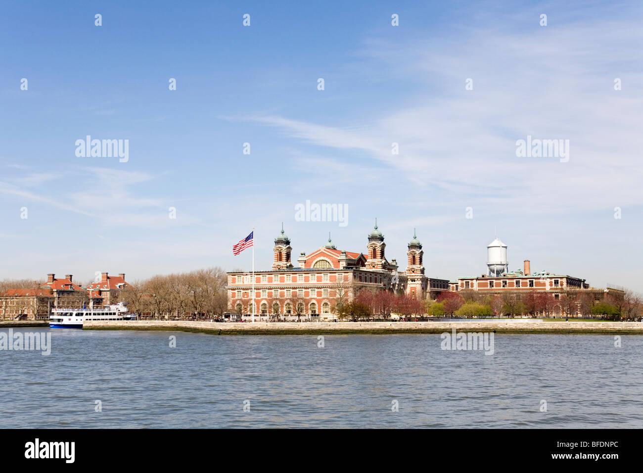 Hudson Bay New York.An Ellis Island Cruise Ship On The Hudson Bay New York