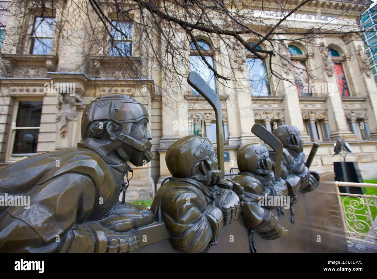 Bronze sculpture 'Our Game' outside the Hockey Hall of Fame, downtown Toronto, Ontario, Canada - Stock Image
