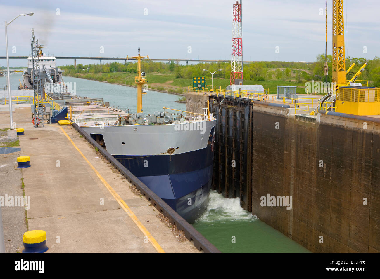 Large bulk carrier ship  Welland Canals Centre, Great Lakes-St. Lawrence Seaway, St. Catharines, Ontario, Canada - Stock Image