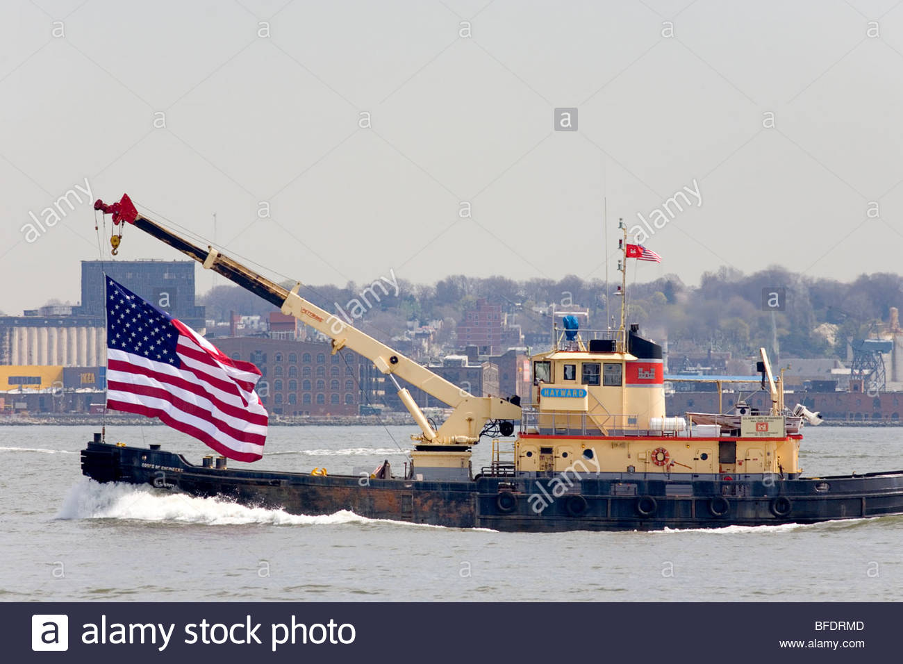 United States Coast Guard Ship in Hudson Bay, New York. - Stock Image