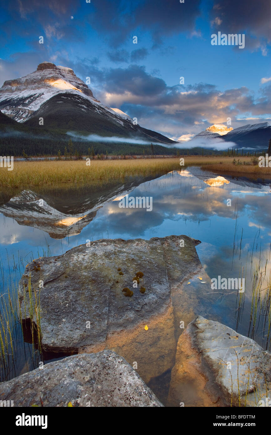 Rampart Ponds with Mount Athabasca and Mount Amery, Banff National Park, Alberta, Canada - Stock Image