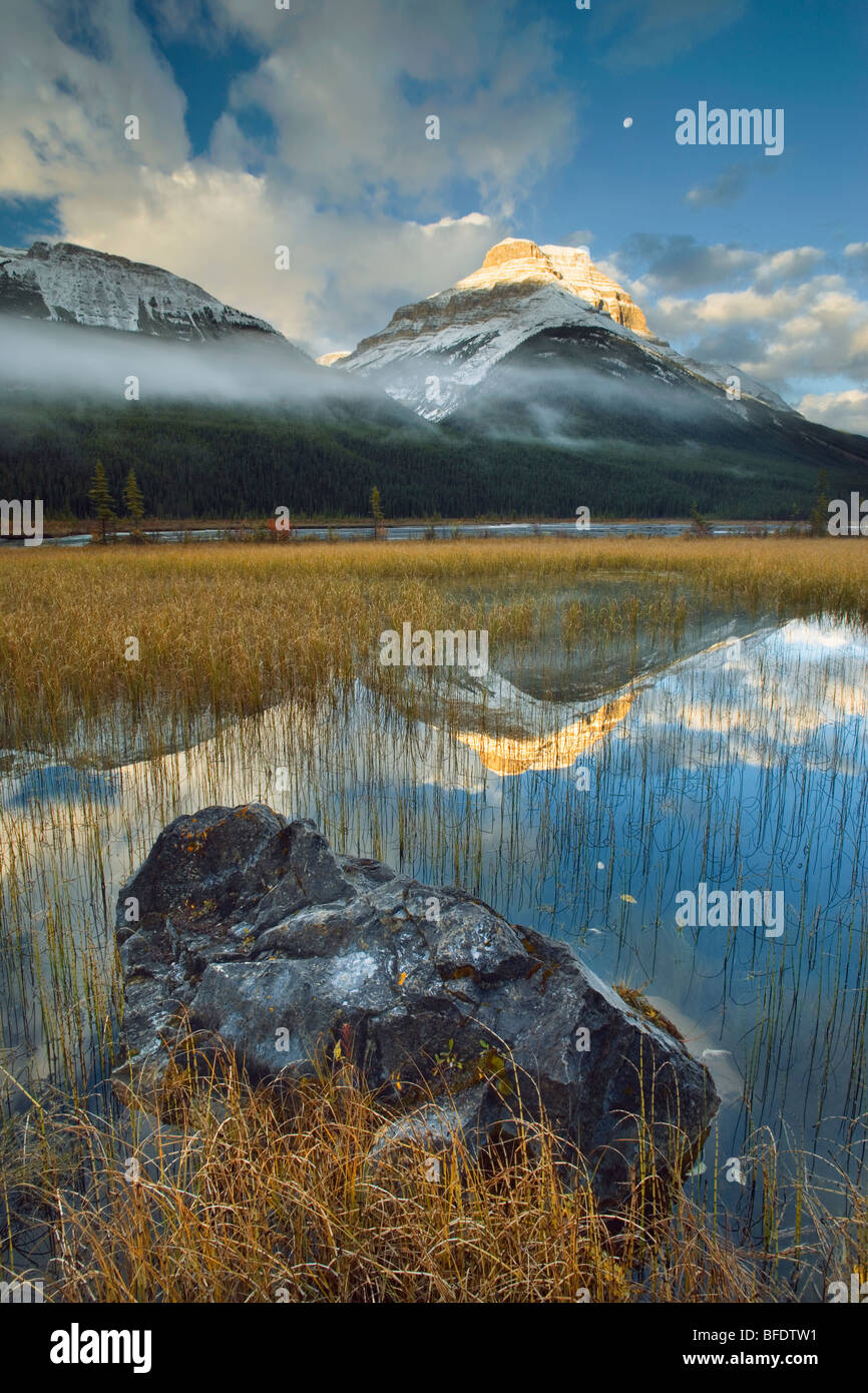 Rampart Ponds with Mount Athabasca and Mount Amery, Banff National Park, Alberta, Canada Stock Photo