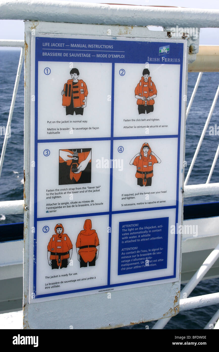 life-jacket safety instructions on a ferry - Stock Image