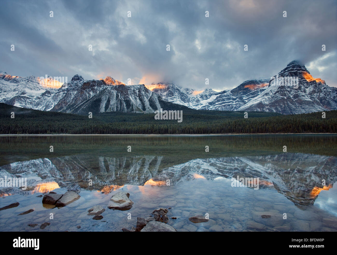 Mount Chephren reflected in Upper Waterfowl Lake, Banff National Park, Alberta, Canada - Stock Image