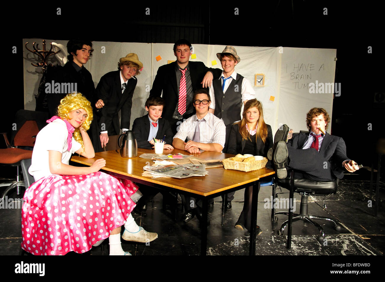 Secondary school play, Bradfield School, Bradfield, Berkshire, England, United Kingdom - Stock Image