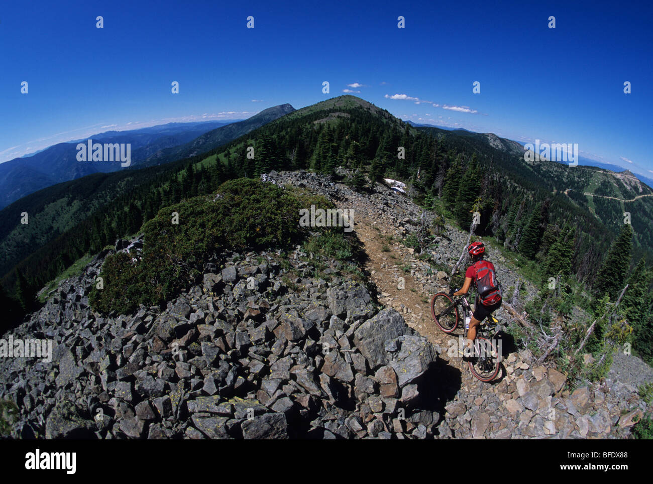 A woman on her mountain bike enjoying the Seven Summit Trail in Rossland, British Columbia, Canada - Stock Image