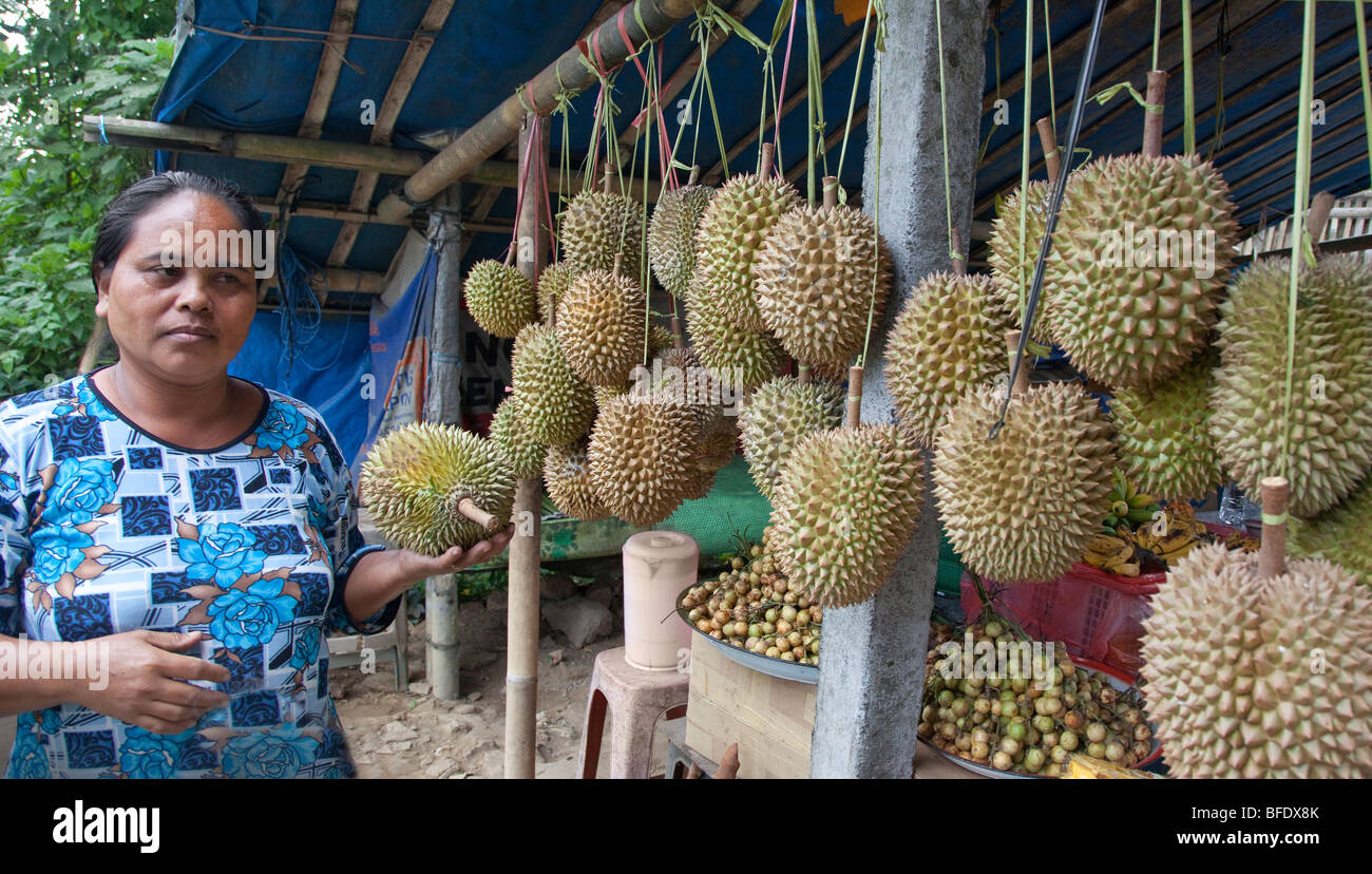 Durian fruit on sale at a market in Bali, Indonesia - Stock Image