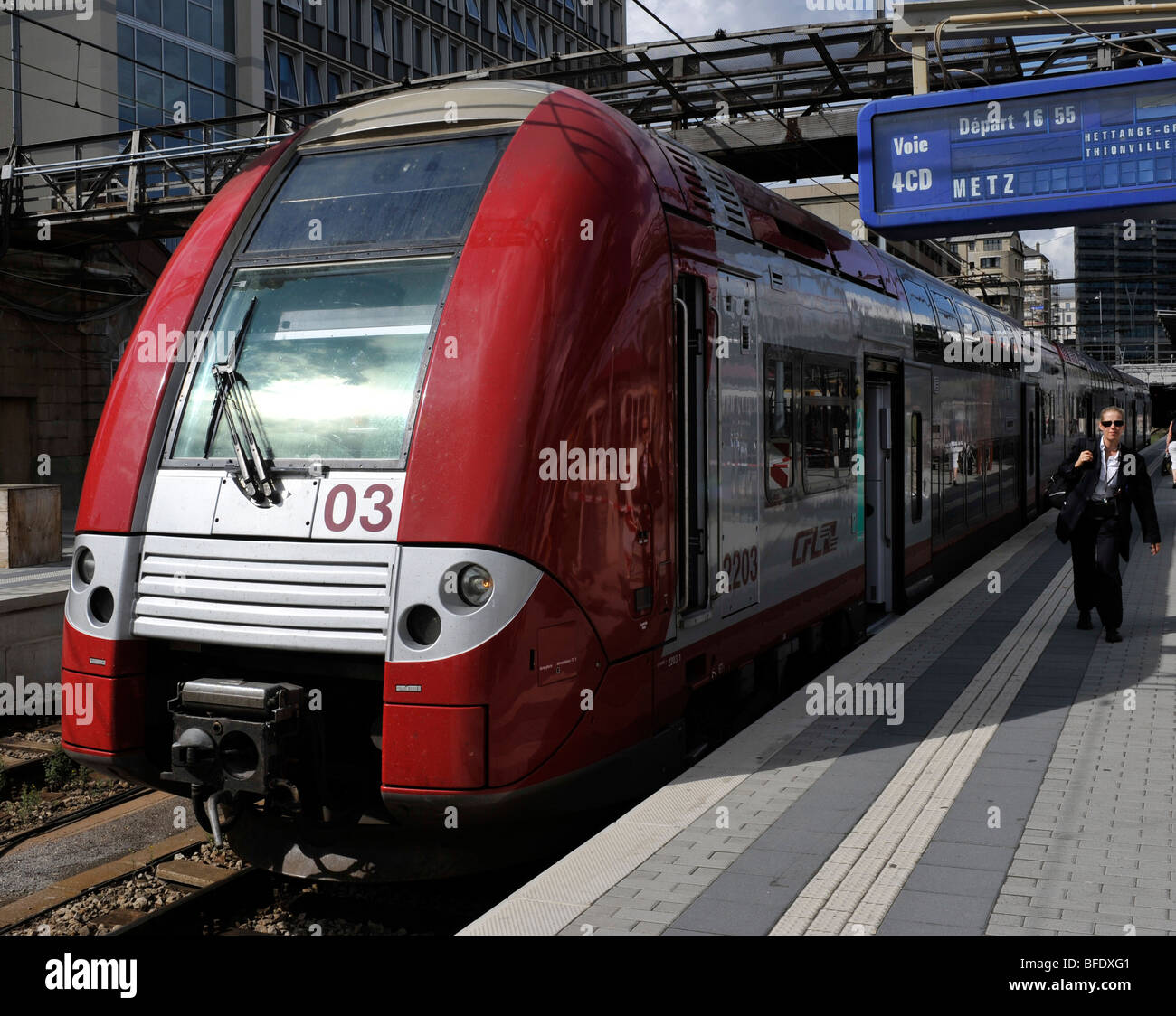 Coradia Duplex train in Luxembourg Central Railway station, Luxembourg. - Stock Image