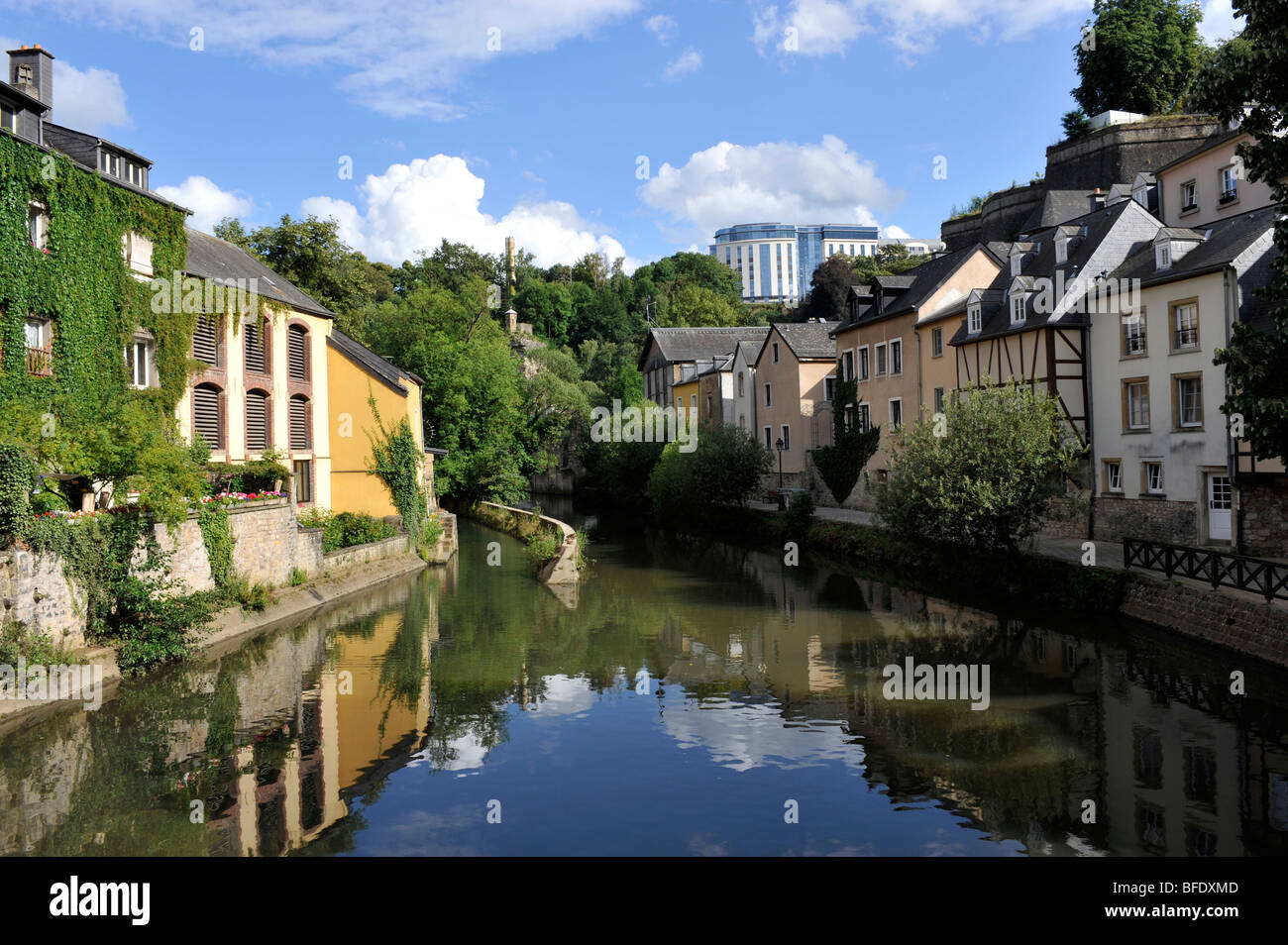 River Aizette flows through the Old Town, City of Luxembourg, Europe. - Stock Image