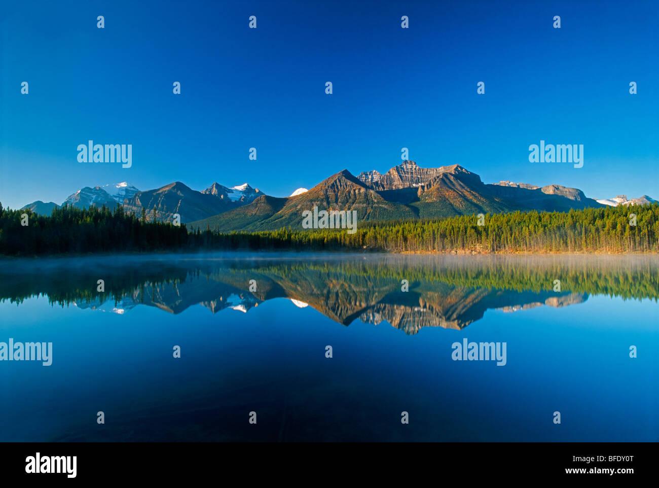 Mountain reflection in Herbert Lake, Banff National Park, Alberta, Canada - Stock Image