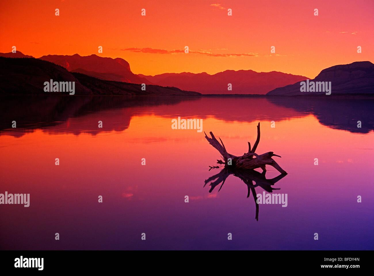 Colourful reflections in Jasper Lake at dawn, Jasper National Park, Alberta, Canada - Stock Image