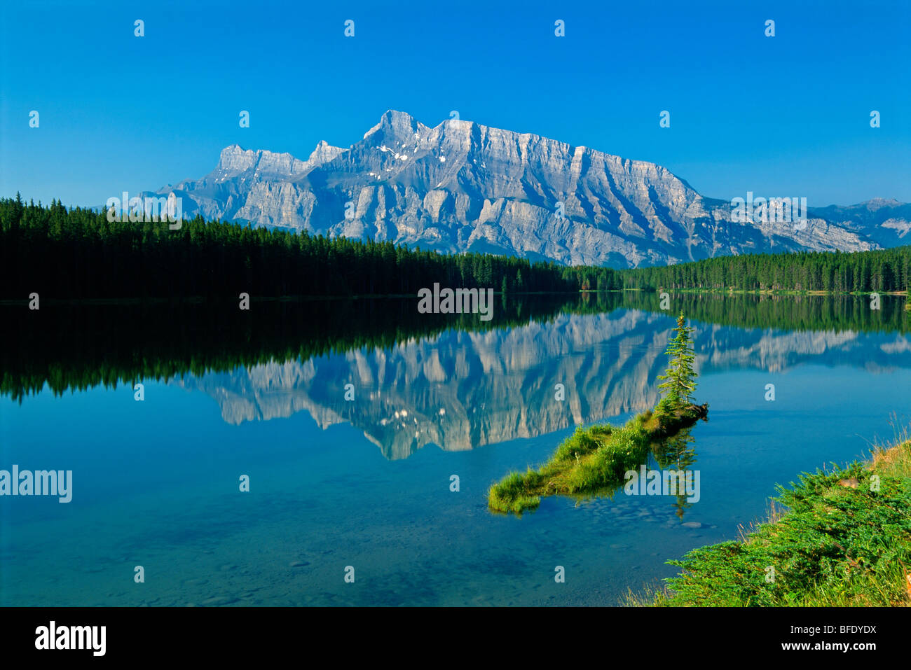 Mountain reflection in Two Jack Lake and Mount Rundle, Banff National Park, Alberta, Canada Stock Photo