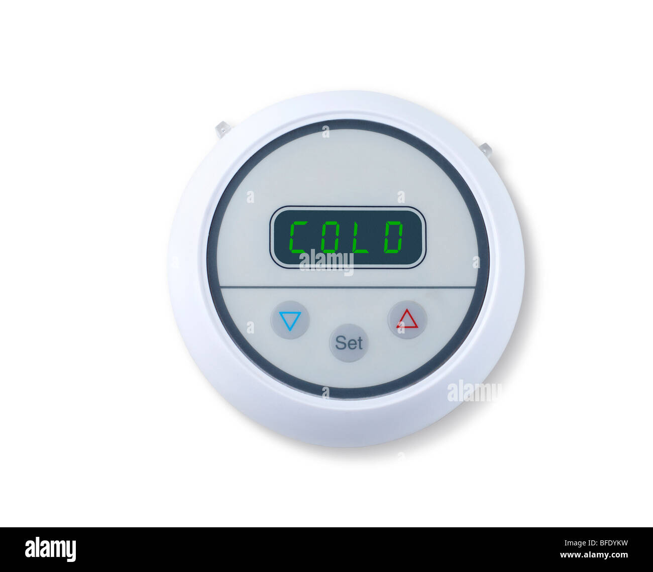 Digital wall thermostat indicating cold - Stock Image