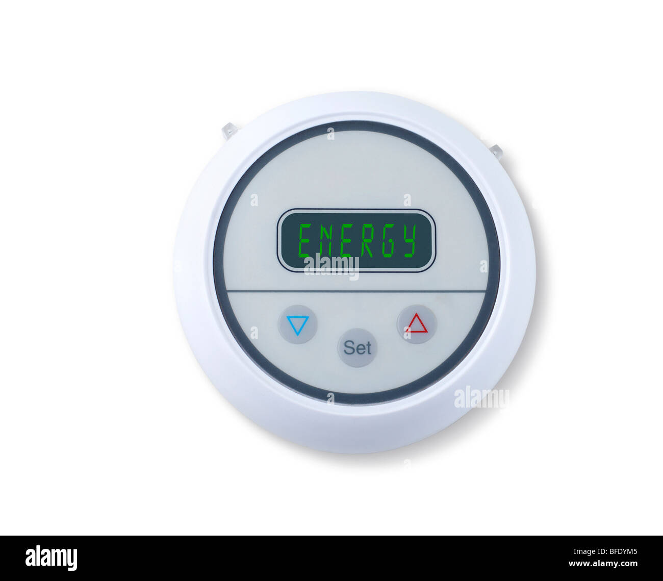 Digital wall thermostat indicating energy - Stock Image