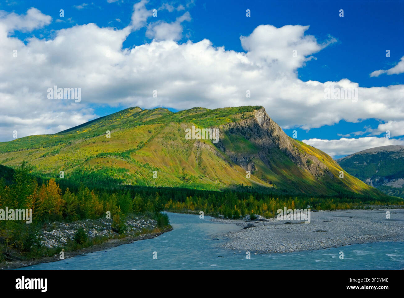 Racing River looking north to Goat Mountain near Toad River, British Columbia, Canada - Stock Image