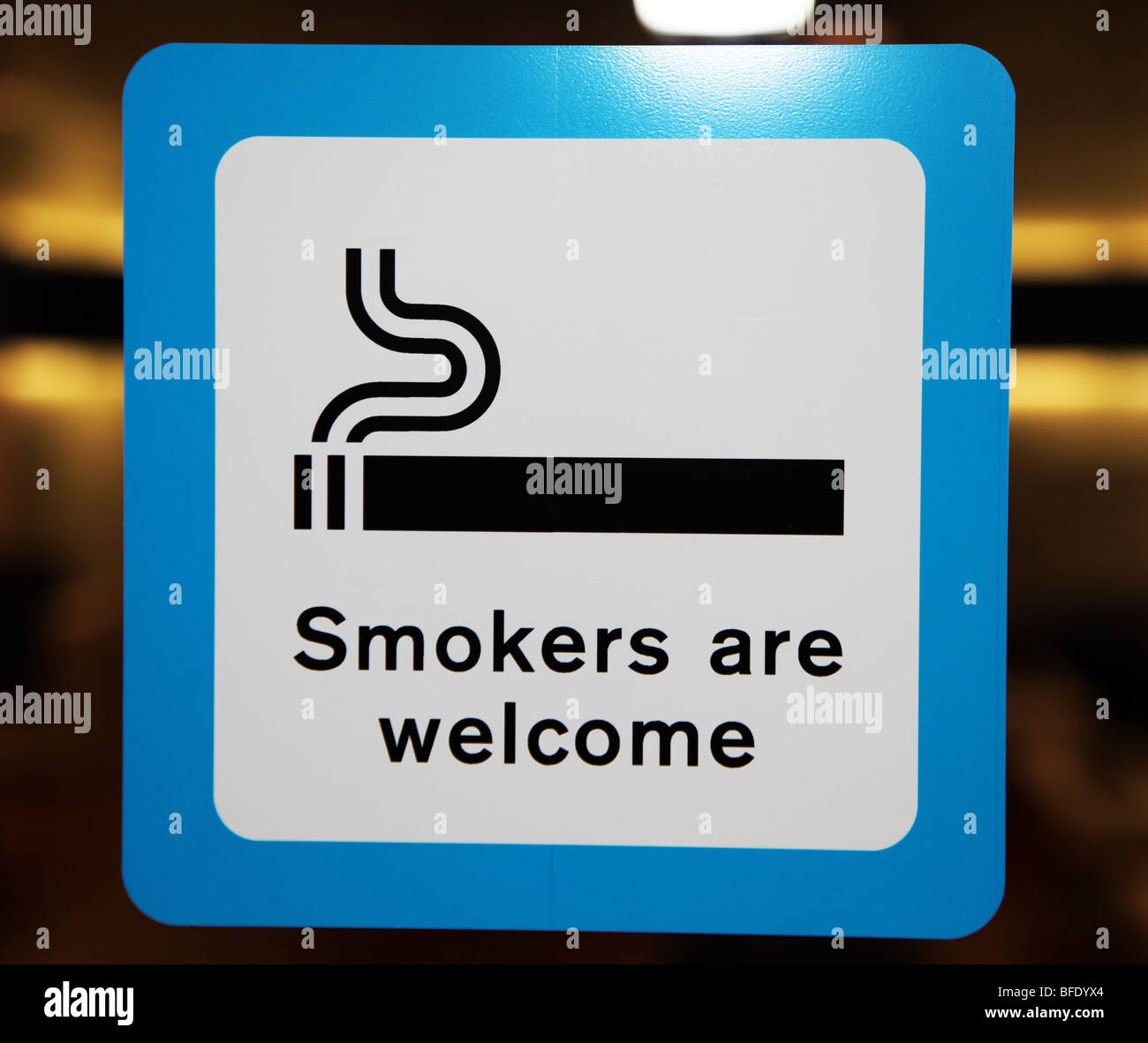 Smokers are Welcome sign, Zurich Airport Smoking lounge - Stock Image